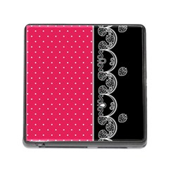 Lace Dots With Black Pink Memory Card Reader With Storage (square)