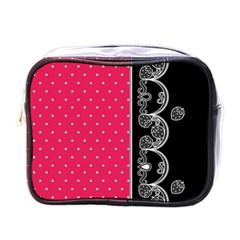 Lace Dots With Black Pink Mini Toiletries Bag (One Side)