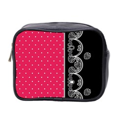 Lace Dots With Black Pink Mini Toiletries Bag (Two Sides)