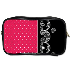 Lace Dots With Black Pink Toiletries Bag (two Sides)