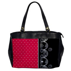 Lace Dots With Black Pink Oversize Office Handbag (one Side)