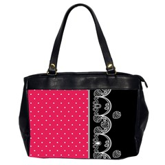 Lace Dots With Black Pink Oversize Office Handbag (two Sides)