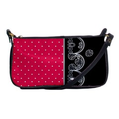 Lace Dots With Black Pink Shoulder Clutch Bag