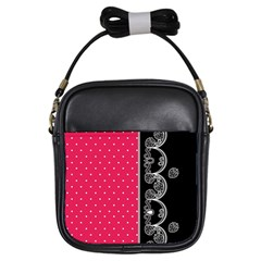 Lace Dots With Black Pink Girls Sling Bag