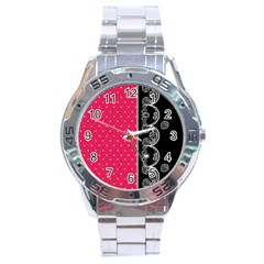 Lace Dots With Black Pink Stainless Steel Analogue Men's Watch
