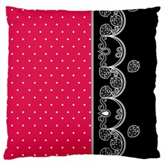 Lace Dots With Black Pink Large Cushion Case (Two Sides)