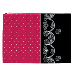 Lace Dots With Black Pink Cosmetic Bag (xxl)
