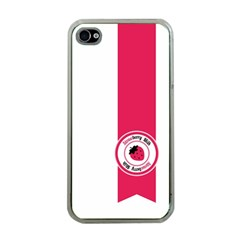 Brand Ribbon Pink With White Apple iPhone 4 Case (Clear)
