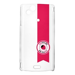 Brand Ribbon Pink With White Sony Ericsson Xperia Arc Hardshell Case