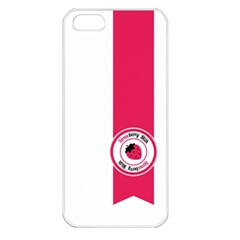 Brand Ribbon Pink With White Apple iPhone 5 Seamless Case (White)