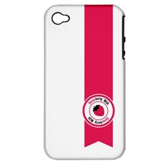 Brand Ribbon Pink With White Apple Iphone 4/4s Hardshell Case (pc+silicone)
