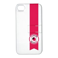 Brand Ribbon Pink With White Apple iPhone 4/4S Hardshell Case with Stand