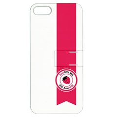 Brand Ribbon Pink With White Apple iPhone 5 Hardshell Case with Stand
