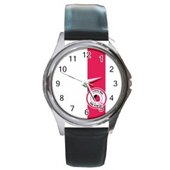 Brand Ribbon Pink With White Round Metal Watch