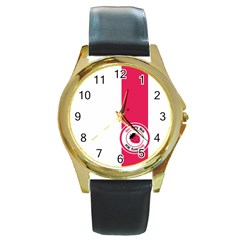 Brand Ribbon Pink With White Round Gold Metal Watch