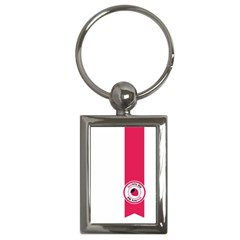 Brand Ribbon Pink With White Key Chain (Rectangle)