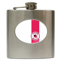 Brand Ribbon Pink With White Hip Flask (6 oz)