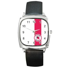 Brand Ribbon Pink With White Square Metal Watch