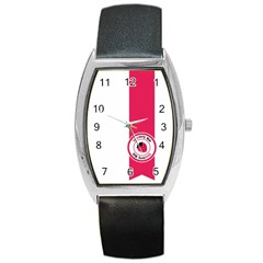 Brand Ribbon Pink With White Barrel Style Metal Watch