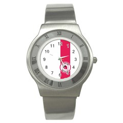 Brand Ribbon Pink With White Stainless Steel Watch