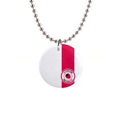 Brand Ribbon Pink With White 1  Button Necklace