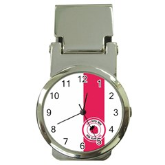 Brand Ribbon Pink With White Money Clip Watch