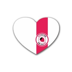 Brand Ribbon Pink With White Rubber Coaster (heart)