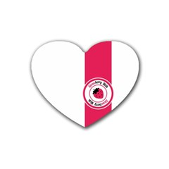 Brand Ribbon Pink With White Heart Coaster (4 pack)