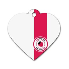 Brand Ribbon Pink With White Dog Tag Heart (One Side)