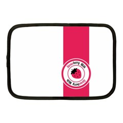 Brand Ribbon Pink With White Netbook Case (Medium)