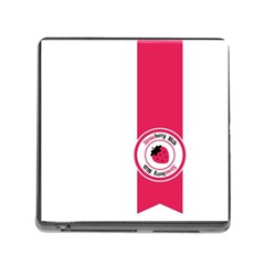 Brand Ribbon Pink With White Memory Card Reader with Storage (Square)