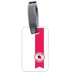Brand Ribbon Pink With White Luggage Tag (one side)