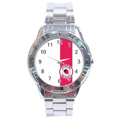 Brand Ribbon Pink With White Stainless Steel Analogue Men's Watch