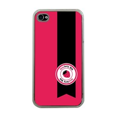 Brand Ribbon Black With Pink Apple Iphone 4 Case (clear)