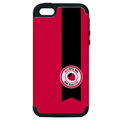 Brand Ribbon Black With Pink Apple iPhone 5 Hardshell Case (PC+Silicone)