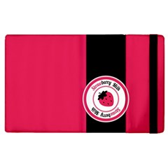 Brand Ribbon Black With Pink Apple Ipad 2 Flip Case