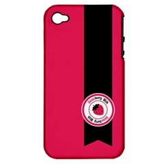 Brand Ribbon Black With Pink Apple Iphone 4/4s Hardshell Case (pc+silicone)