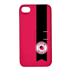 Brand Ribbon Black With Pink Apple iPhone 4/4S Hardshell Case with Stand