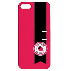 Brand Ribbon Black With Pink Apple iPhone 5 Hardshell Case with Stand