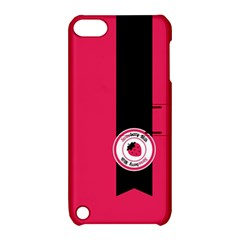 Brand Ribbon Black With Pink Apple iPod Touch 5 Hardshell Case with Stand