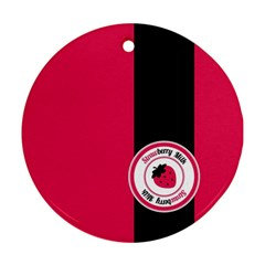 Brand Ribbon Black With Pink Ornament (Round)