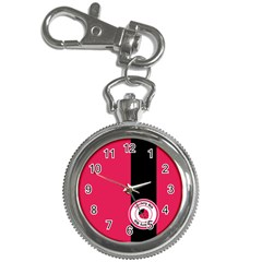 Brand Ribbon Black With Pink Key Chain Watch