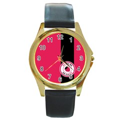 Brand Ribbon Black With Pink Round Gold Metal Watch