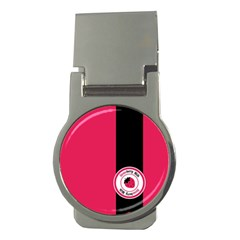 Brand Ribbon Black With Pink Money Clip (round)