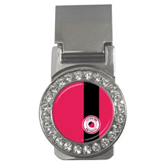 Brand Ribbon Black With Pink Money Clip (CZ)