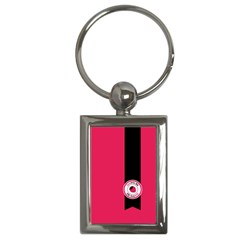 Brand Ribbon Black With Pink Key Chain (rectangle)