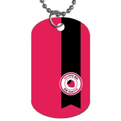 Brand Ribbon Black With Pink Dog Tag (one Side)