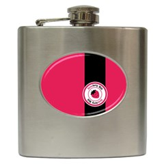 Brand Ribbon Black With Pink Hip Flask (6 Oz)