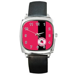 Brand Ribbon Black With Pink Square Metal Watch
