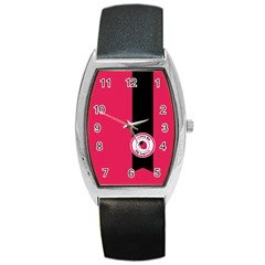 Brand Ribbon Black With Pink Barrel Style Metal Watch